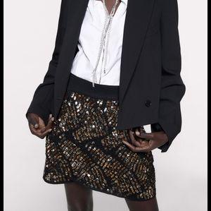 NWT Zara Sequin Mini Skirt Leaf Medium